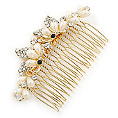 Bridal/ Wedding/ Prom/ Party Gold Plated Clear Crystal Simulated Pearl Double Butterfly Hair Comb - 95mm