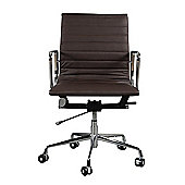 EA117 Low Back Ribbed Brown Leather Office Chair