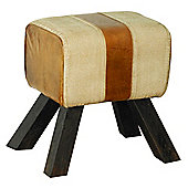Baumhaus IRR63URB3 Roadie Chic Leather Footstool