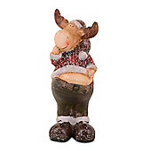 Standing Christmas Reindeer Ornament In Terracotta Design B