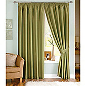 Dreams and Drapes Java 3 Pencil Pleat Lined Faux Silk Curtains (inc. t/b) 90x90 inches (228x228cm) - Moss