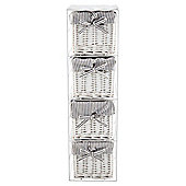 Tesco White Wicker Grey Stripe Lined Small Drawer Tower