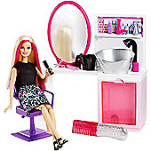Barbie Sparkle Style Salon Playset with Blonde Doll