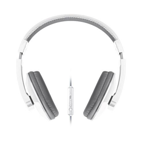 Merkury Urban Beatz Tempo Headphones with In-line Microphone - White/ Grey