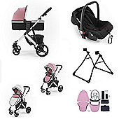 Tutti Bambini Riviera Plus Silver Travel System Bundle - Dusty Pink/Cool Grey