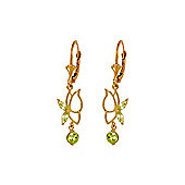 QP Jewellers 0.35ct Peridot Butterfly Earrings in 14K Rose Gold