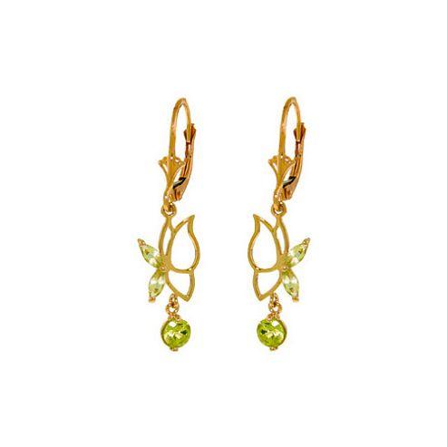 QP Jewellers 0.35ct Peridot Butterfly Earrings in 14K Rose Gold