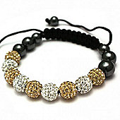 Gold and Clear Crystal Unisex Fashion Bracelet - SHAMBRAC-70