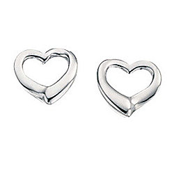 Womens Silver Open Heart Stud Earrings