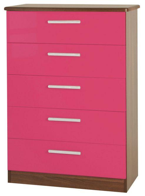 Welcome Furniture Knightsbridge 5 Drawer Chest - White - Aubergine