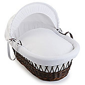 Clair de Lune Dark Wicker Moses Basket (Soft Cotton Waffle White)