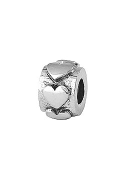 Amore and Baci Ring of Hearts Silver Bead