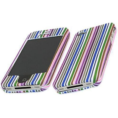iTALKonline RAINBOW SnapGuard Protection Case Purple/Blue/White/Brown For - Apple iPhone 4 RS-005