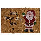 Coir Christmas Door Mat -  Santa Stop Here