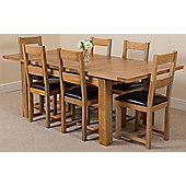 Seattle Solid Oak Extending 150 - 210 cm Dining Table with 6 Lincoln Oak & Leather Chairs