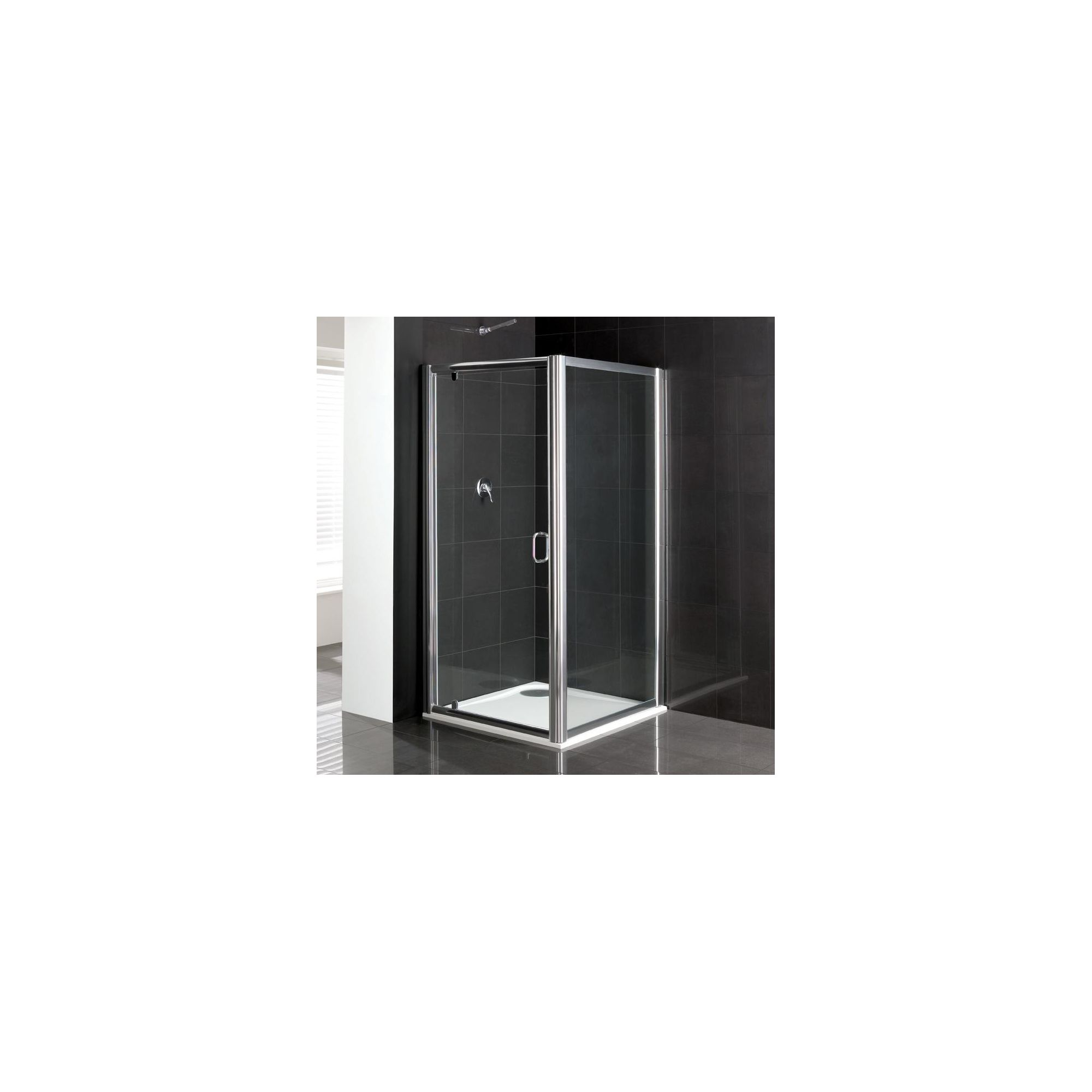 Duchy Elite Silver Pivot Door Shower Enclosure with Towel Rail, 800mm x 760mm, Standard Tray, 6mm Glass at Tesco Direct