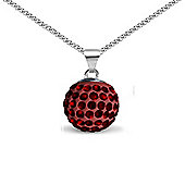Jewelco London Sterling Silver Crystal Garnet Red Solitaire 12mm Pendant - 18 inch Chain