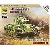 Zvezda - Matilda MK-II Tank Scale 1/100 6171