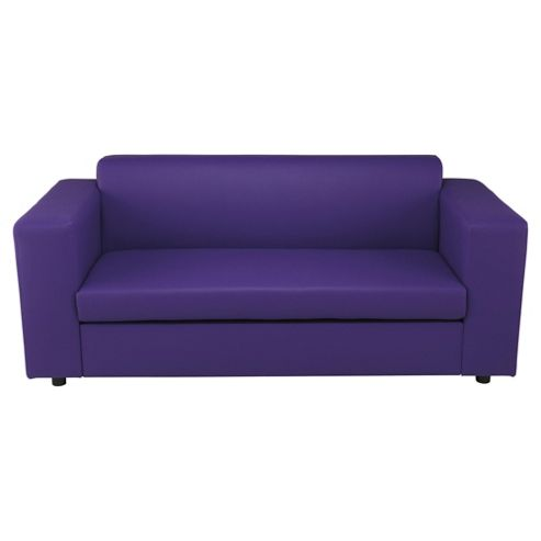Stanza Leather Effect Sofa Bed, 2 Seater Sofa Purple