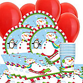 Joyful Snowman Party Value Christmas Party Pack For 8