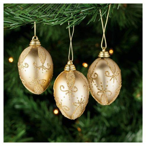Tesco Gold Egg Shaped Hanging Decoration, 6 Pack
