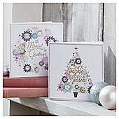 Tesco Luxury Snowflake Tree And Wreath Christmas Cards, 10 Pack