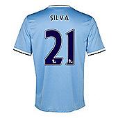 2013-14 Man City Home Shirt (Silva 21) - Ocean blue