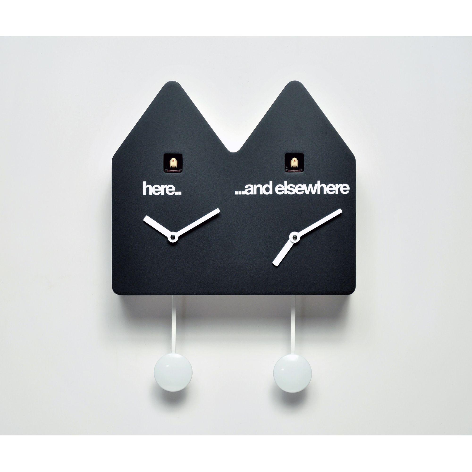Progetti Double Q Cuckoo Clock - Black at Tesco Direct