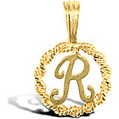 Jewelco London 9ct Gold Rope Initial ID Personal Pendant, Letter R - 0.9g