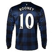 2013-14 Man United Away Long Sleeve Shirt (Rooney 10) - Kids - Blue