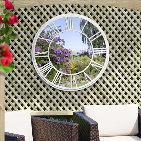 buy suntime roman numeral clock garden mirror from our. Black Bedroom Furniture Sets. Home Design Ideas