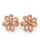 Pale Pink Enamel Dimensional Floral Stud Earrings In Gold Plated Metal - 2.5cm in diameter