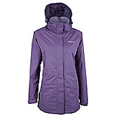 Omega Womens Waterproof Anorak Hooded Shower Proof Long Raincoat Jacket - Purple