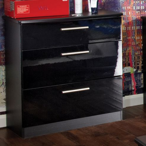 Welcome Furniture Knightsbridge 3 Drawer Chest - Black - Ebony