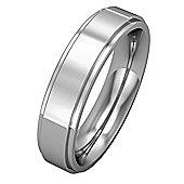 Platinum - 5mm Premium Flat Court Step Cut Band Commitment / Wedding Ring -