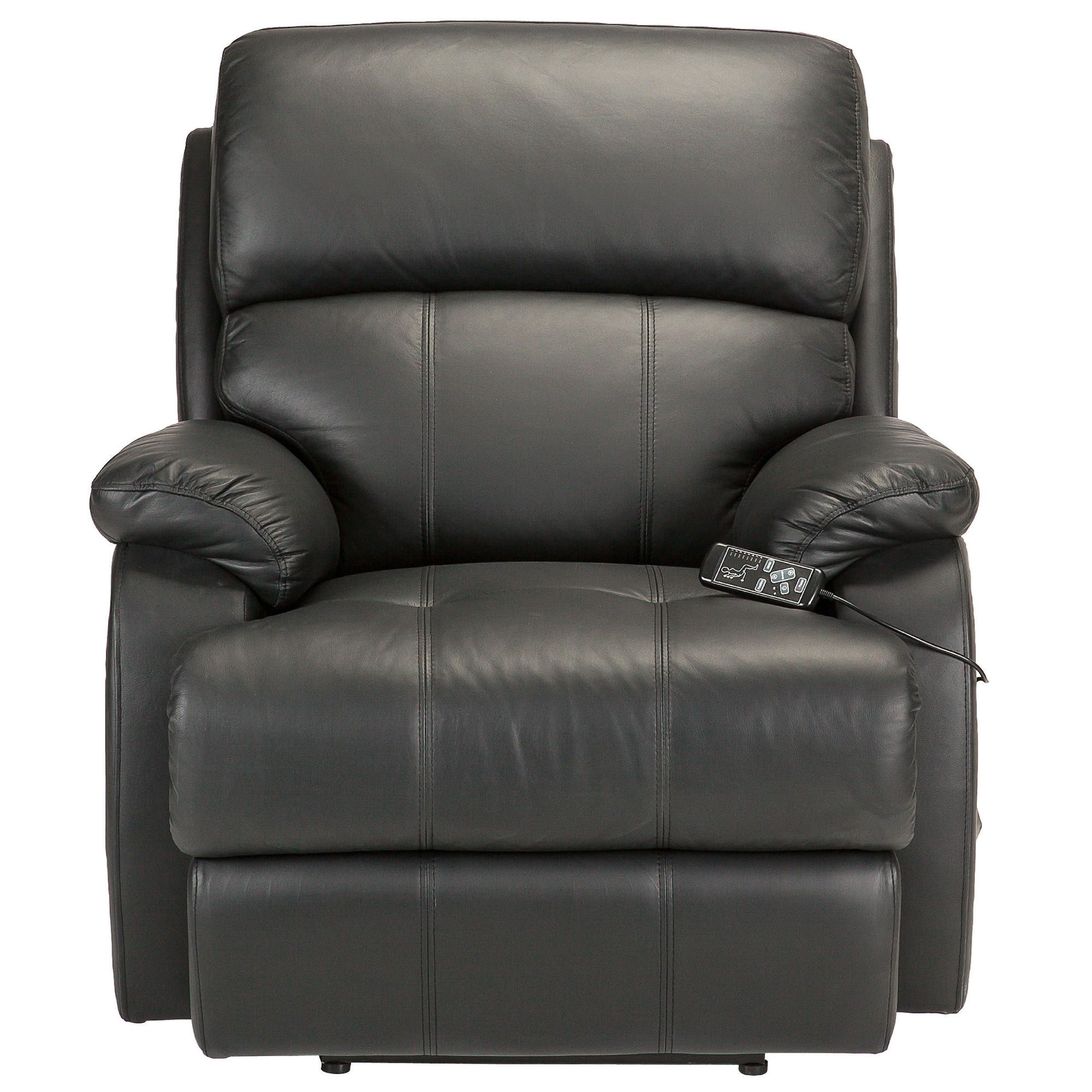 Massage Leather Recliner Chair Black at Tesco Direct