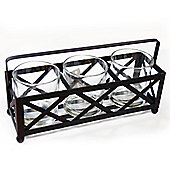 Raft - Metal + Glass 3 Tea Light / Candle Holder - Black