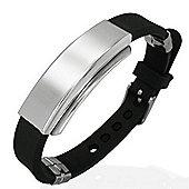 Urban Male Men's Black Rubber & Stainless Steel ID Plate Bracelet