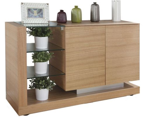 Jual JF613 Sideboard in Oak with Clear Glass