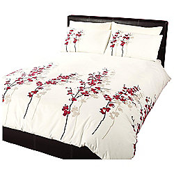 Dreams 'N' Drapes Oriental Flower Duvet Set in Red - Double