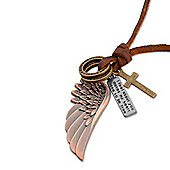 Urban Male Brown Leather Angel's Wing Necklace Adjustable Length