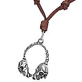 Urban Male Adjustable Brown Leather Necklace with Skull Headphone Pendant