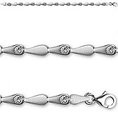 Jewelco London Rhodium Coated Sterling Silver Cubic Zirconia collarette matching Tennis Chain - Ladies