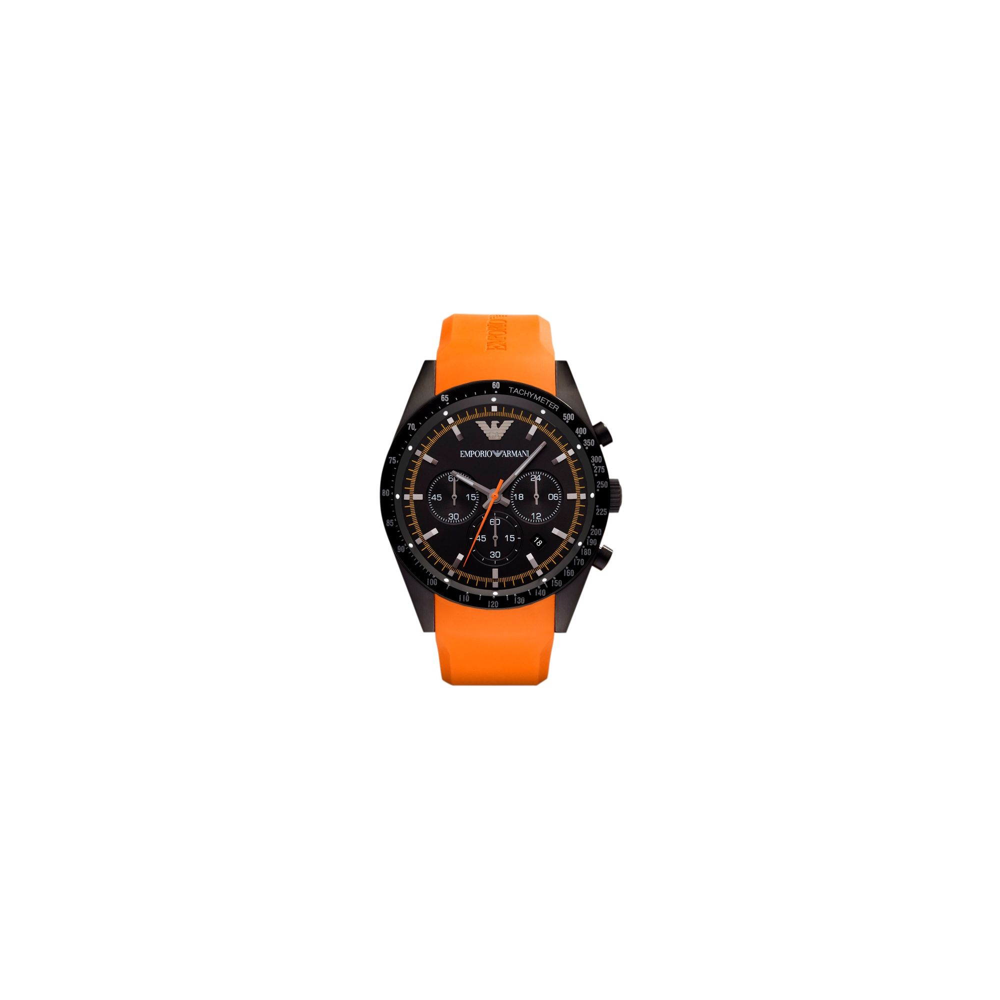 Emporio Armani Gents Chronograph Orange Rubber Strap Watch AR5987 at Tesco Direct