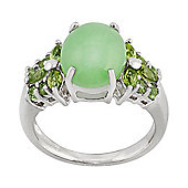 Gemondo 925 Sterling Silver 4.00ct Green Jade & 0.73ct Peridot Cluster Style Ring