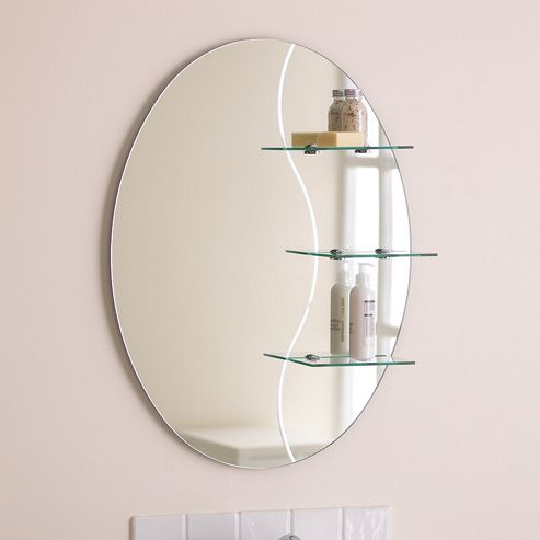 Endon Lighting Kolat Bathroom Mirror with Chrome Shelf Brackets