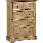Corona Mexican 3+2 (5) Drawer Chest Distressed Waxed Pine