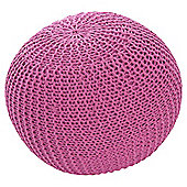 Light Weight Knitted Pouffe Pink