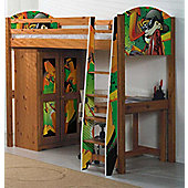 Boys Pine Highsleeper Bed with Graffiti Design