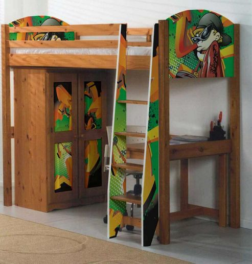 Pine Highsleeper Bed with Graffiti Design